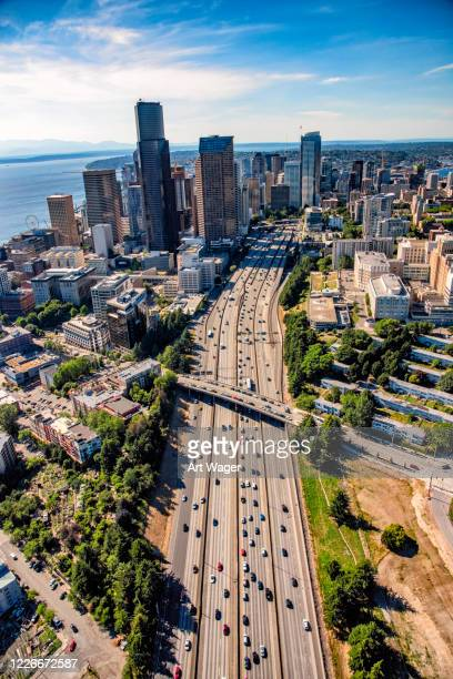 downtown seattle aerial - puget sound stock pictures, royalty-free photos & images