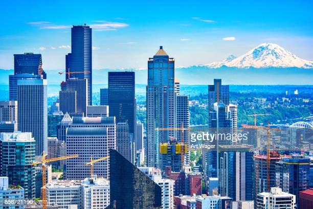 downtown seattle skyline aerial - seattle stock pictures, royalty-free photos & images
