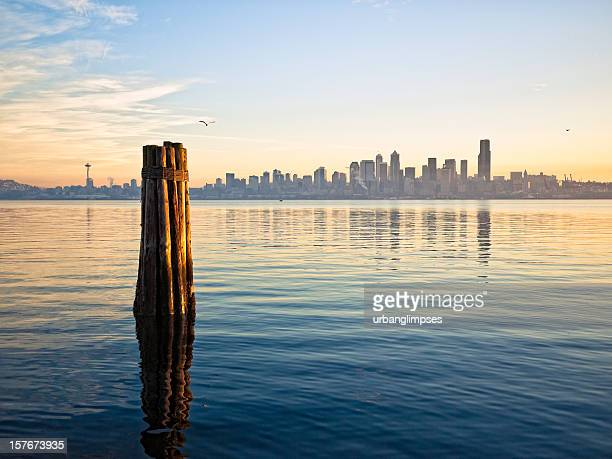 downtown seattle skyline - puget sound stock pictures, royalty-free photos & images