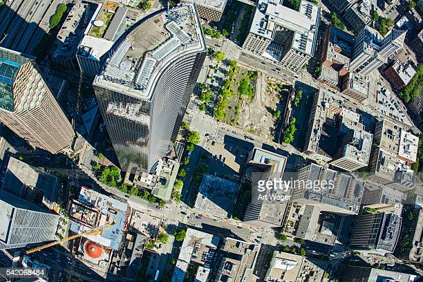 Downtown Seattle Skyscraper Aerial View