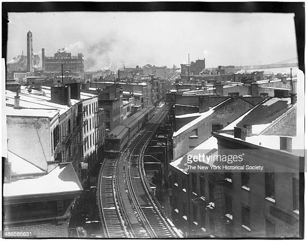 Downtown section of the elevated railroad Bronx New York New York 1895