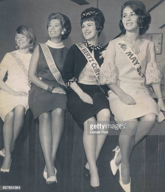 Downtown Seek Ballots Finalists in contest for title of Miss Dynamic Downtown Denver1966 are from left Phyllis Arnold of Kirchner Co Mona Margaret...