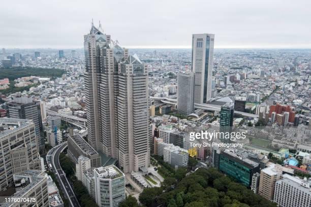 downtown shinjuku, tokyo, japan - 東京都庁舎 ストックフォトと画像