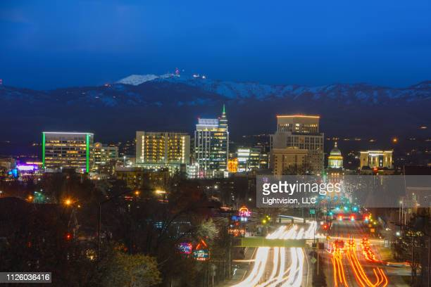 downtown skyline boise, idaho at night - idaho stock pictures, royalty-free photos & images