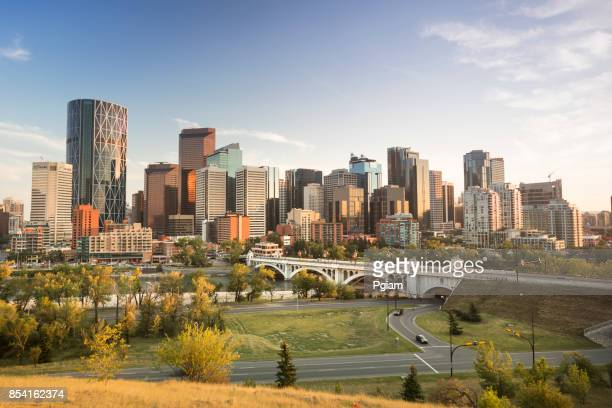 downtown skyline calgary alberta canada - calgary stock pictures, royalty-free photos & images