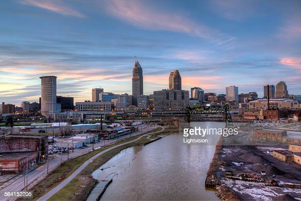 downtown skyline cleveland, ohio - cleveland ohio stock photos and pictures
