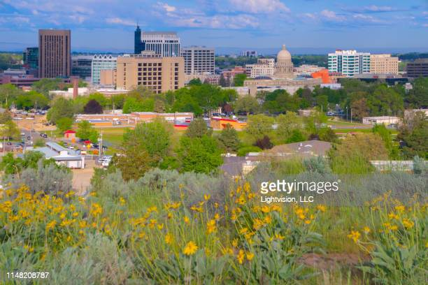 downtown skyline in boise, idaho - boise idaho stock pictures, royalty-free photos & images