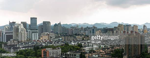 Downtown skyline with stormy clouds,Hangzhou,Zhejiang,China