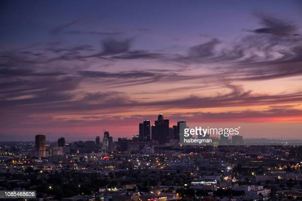 Downtown LA Skyline with Wispy Clouds at Sunset