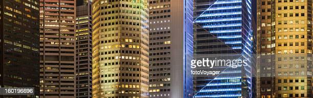 Downtown skyscraper background illuminated cityscape