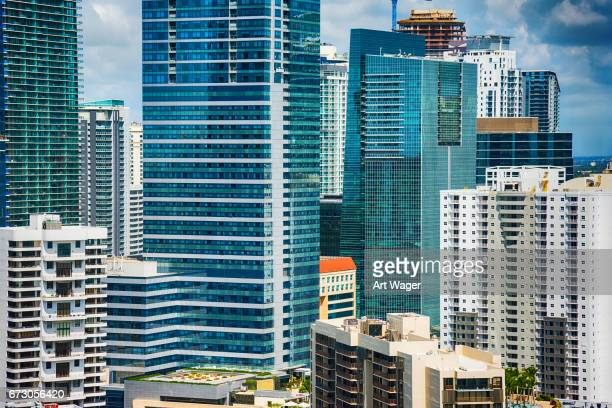 downtown skyscraper close up of miami florida - downtown miami stock pictures, royalty-free photos & images