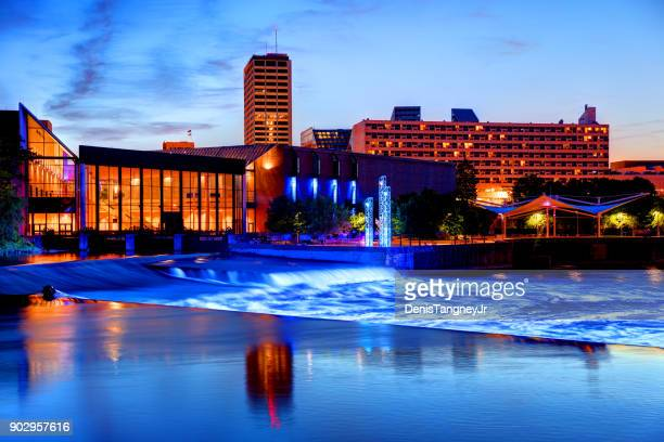 downtown south bend indiana skyline - indiana stock pictures, royalty-free photos & images