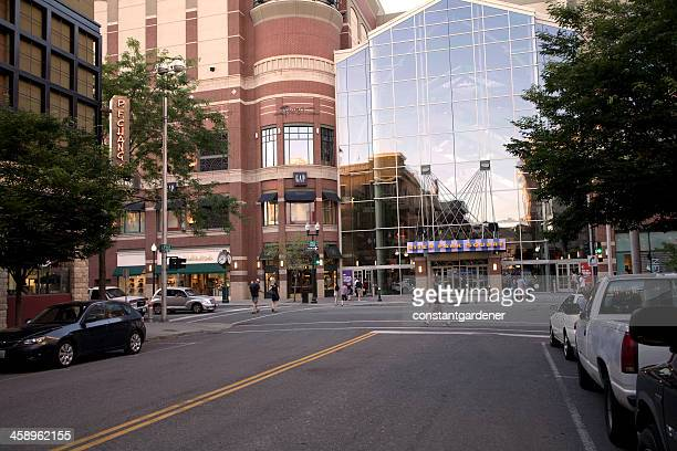 downtown spokane summer evening - spokane stock pictures, royalty-free photos & images
