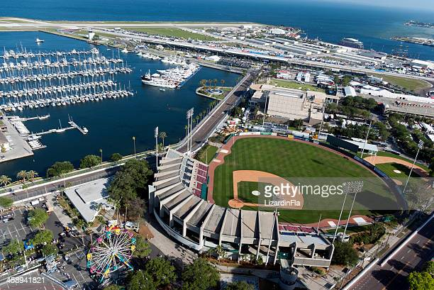 downtown st. petersburg, florida aerial view - st. petersburg florida stock photos and pictures
