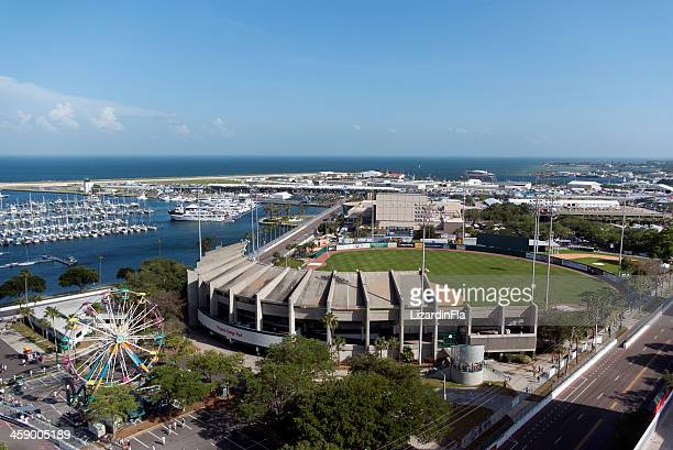 downtown st. petersburg, progress energy park aerial view - st. petersburg florida stock photos and pictures