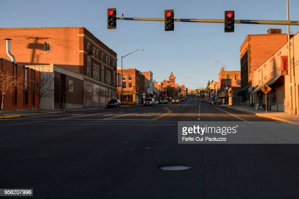downtown street of butte, montana, usa - red light stock pictures, royalty-free photos & images
