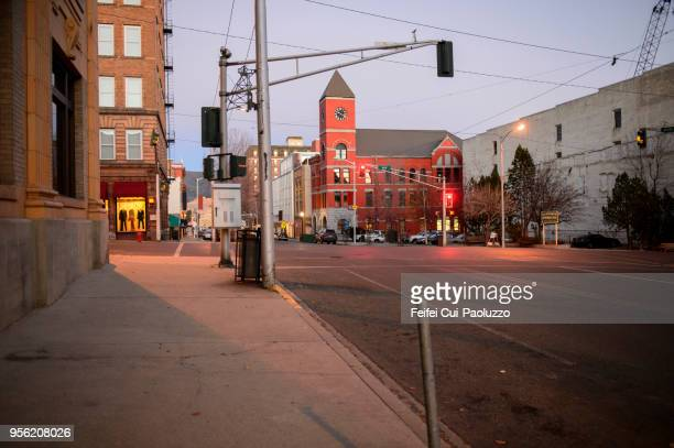 downtown street of butte, montana, usa - small town america stock pictures, royalty-free photos & images