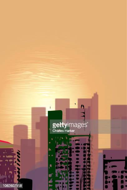 Downtown Sunset City Digital Illustration