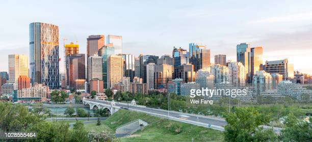 downtown sunset - calgary stock pictures, royalty-free photos & images