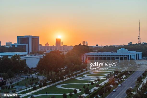 downtown tashkent at sunset, uzbekistan - dictator stock pictures, royalty-free photos & images