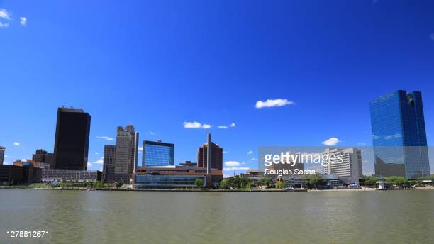 downtown toledo city skyline on the maumee river - toledo ohio stock pictures, royalty-free photos & images
