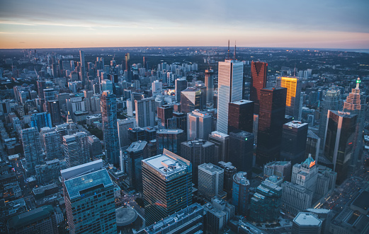 Downtown Toronto at dusk, Canada 1045266348
