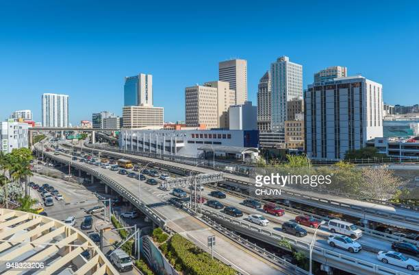 downtown traffic jam - miami dade county stock photos and pictures