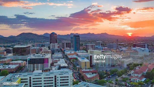 downtown tucson sunset - tucson stock pictures, royalty-free photos & images