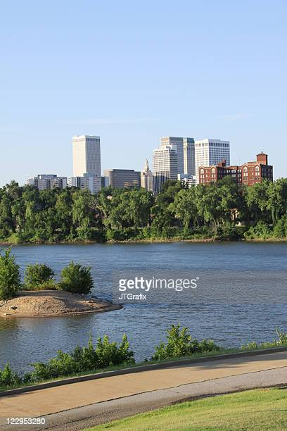 downtown tulsa from the west bank - tulsa stock pictures, royalty-free photos & images