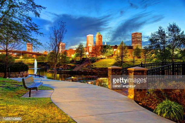 downtown tulsa, oklahoma - tulsa stock pictures, royalty-free photos & images