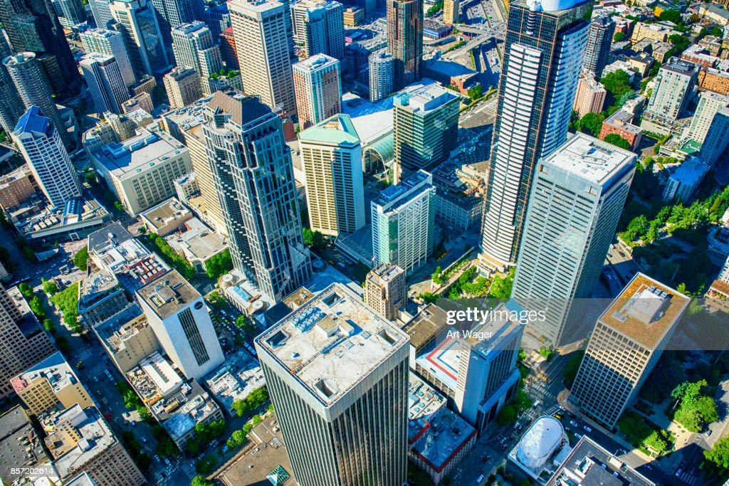Downtown Urban Aerial : Stock Photo