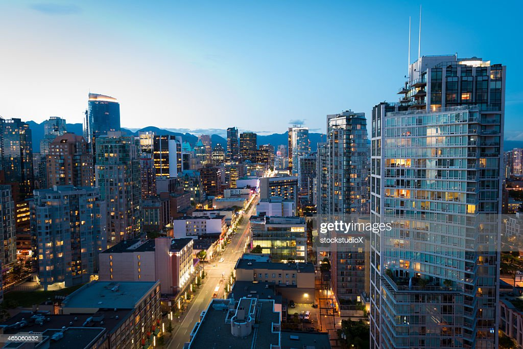 Downtown Vancouver at dusk : Stock Photo