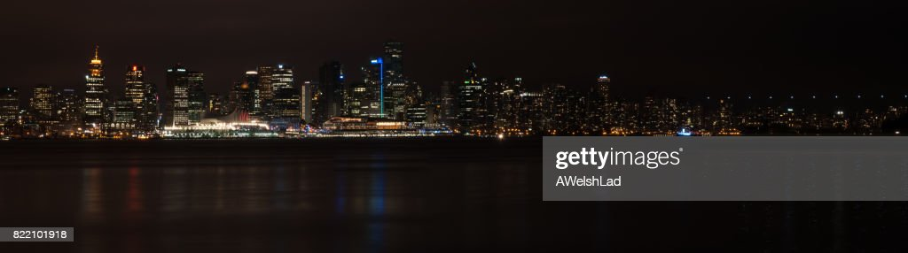 Downtown Vancouver, BC in the evening panorama : Stock Photo