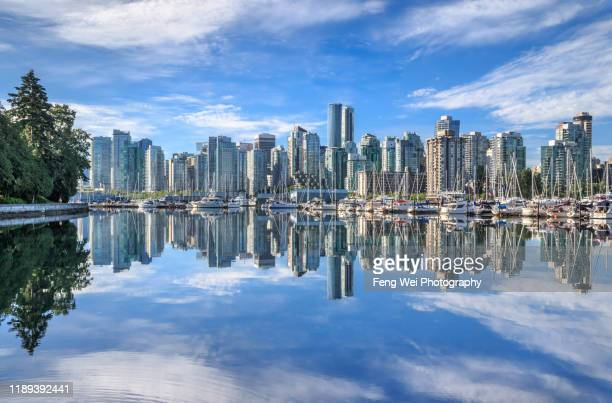 downtown vancouver city skyline, british columbia, canada - vancouver skyline stock pictures, royalty-free photos & images