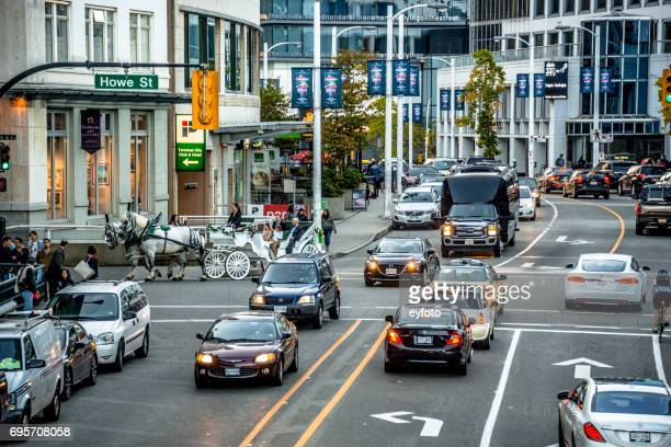 downtown vancouver - howe st - road junction stock pictures, royalty-free photos & images