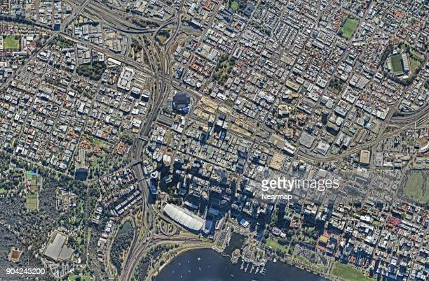 downtown view from above - perth australia stock photos and pictures
