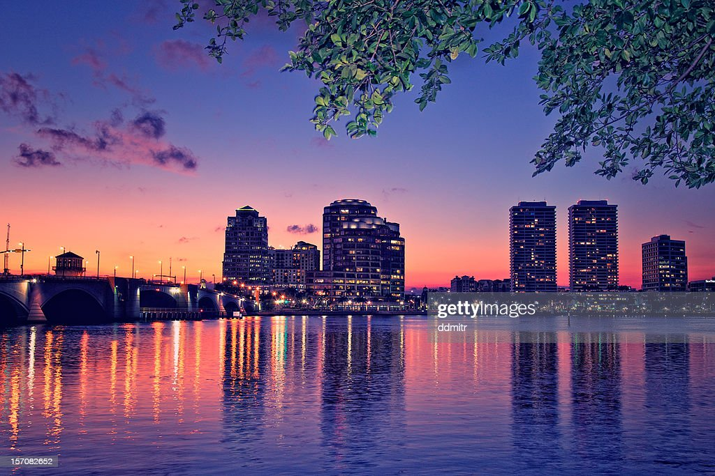 Downtown West Palm Beach At Night Stock Photo