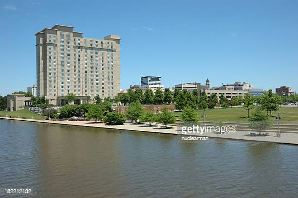 downtown wichita and the river walk - wichita stock photos and pictures