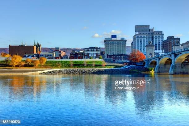 downtown wilkes-barre pennsylvania skyline - pennsylvania stock pictures, royalty-free photos & images