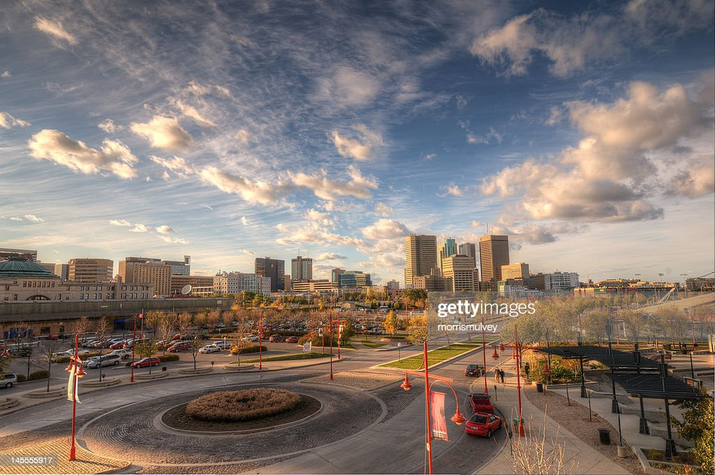 Downtown Winnipeg from The Forks : Stock Photo