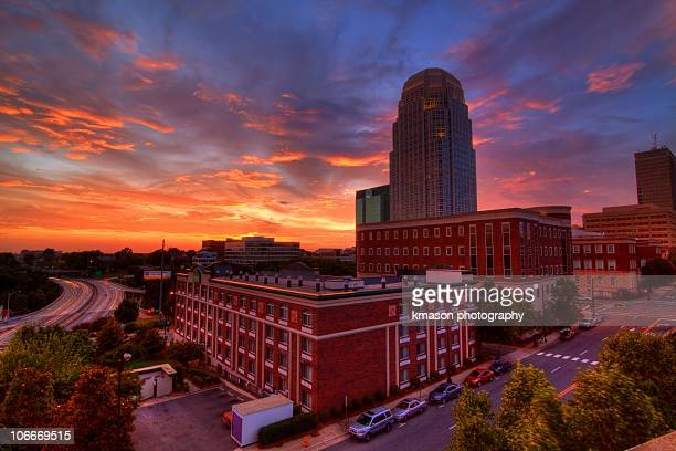 downtown winston salem at sunset - winston salem stock pictures, royalty-free photos & images