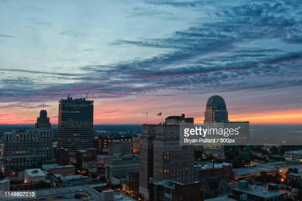 downtown winston-salem at sunrise - winston salem stock pictures, royalty-free photos & images