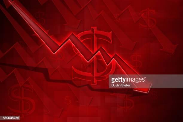 Downward Arrow on Line Graph