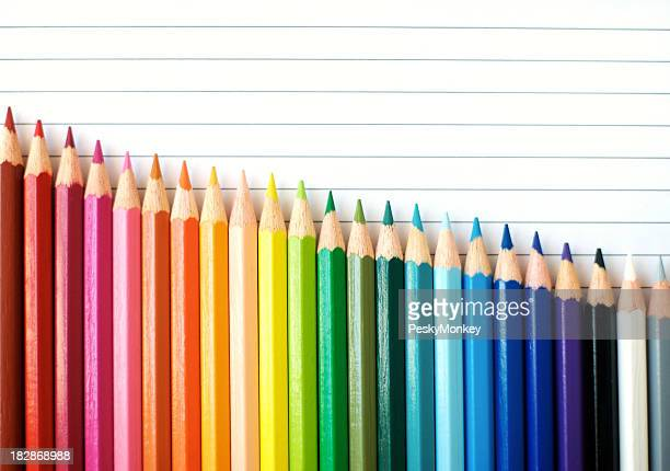Downward Bar Graph Colored Pencils Spectrum on Lined Paper