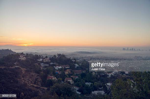 downward view of sunrise towards los angeles - hollywood california stock pictures, royalty-free photos & images