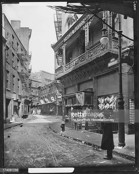 Doyers Street at Bowery Chinatown New York New York mid 1910s