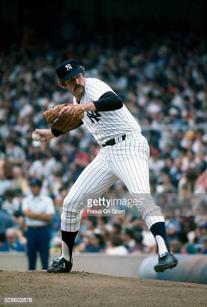 Doyle Alexander of the New York Yankees pitches during Major League Baseball game circa 1982 at Yankee Stadium in the Bronx borough of New York City...