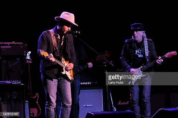Doyle Bramhall and Brad Whitford performing during the Jimi Hendrix Experience 2012 at the Pikes Peak Center in Colorado Springs Colorado on March 30...