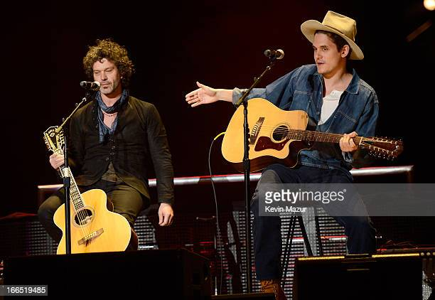 Doyle Bramhall and John Mayer perform on stage during the 2013 Crossroads Guitar Festival at Madison Square Garden on April 13 2013 in New York City