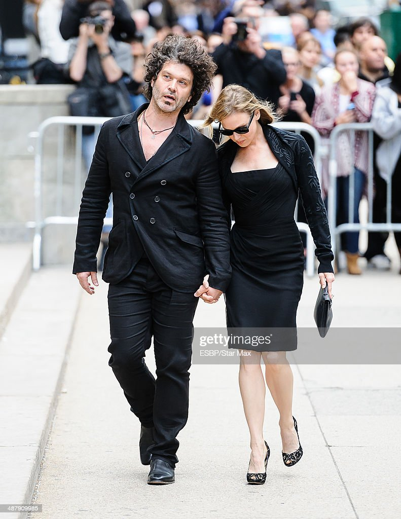 Doyle Bramhall II and actress Renee Zellweger seen at the memorial service for L'Wren Scott on May 2, 2014 in New York City .